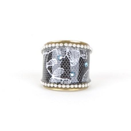 Ronde Ring zwart, wit, zilver en wit