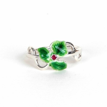 Ring Emaille Ruby in Sterling zilver