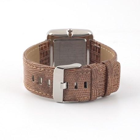 Horlogeband van dameshorloge van imitatie slangenleer in nougat