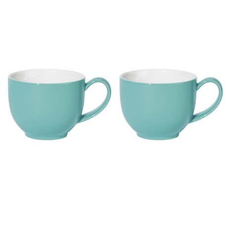 Set van 2 grote theemokken in turquoise