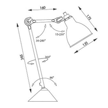 Afmetingen en draairichtingen van tafellamp La Lampe Gras