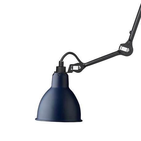 Plafondlamp/spot La Lampe Gras matzwart met een blauwe kap