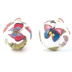 Set van 2 Glazen Decoratie Bollen Vlinders